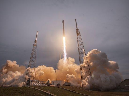 The Falcon 9 launches.