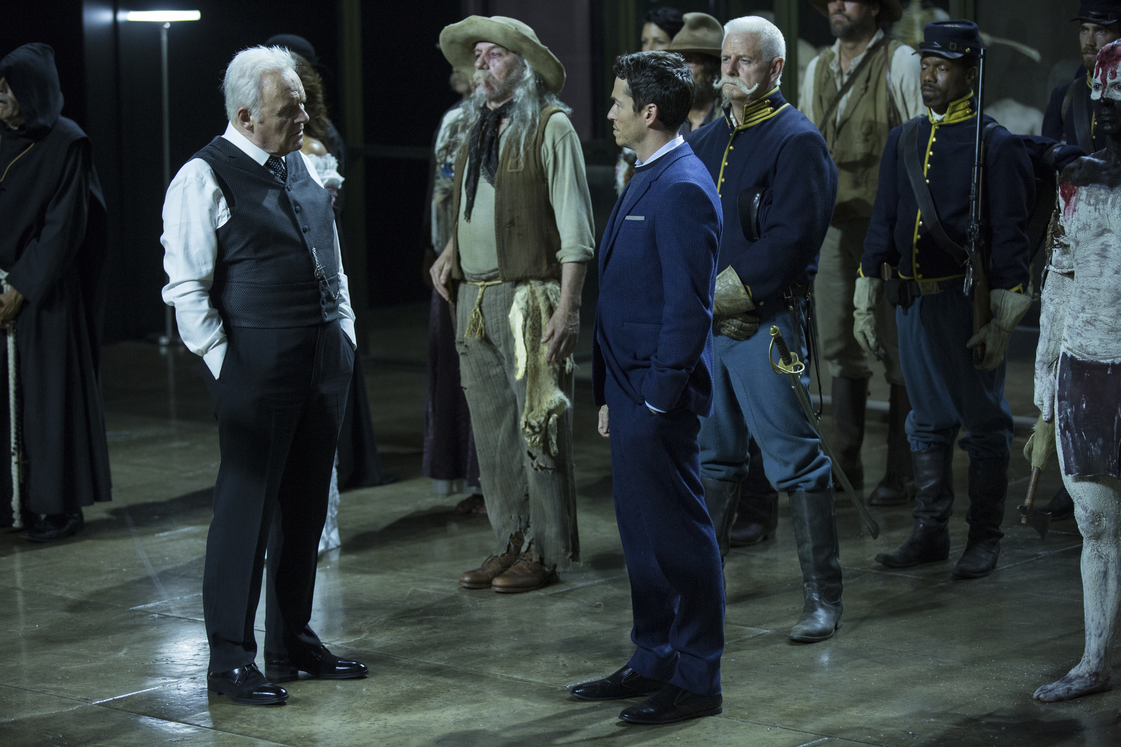"Anthony Hopkins and Simon Quarterman in ""Westworld"""