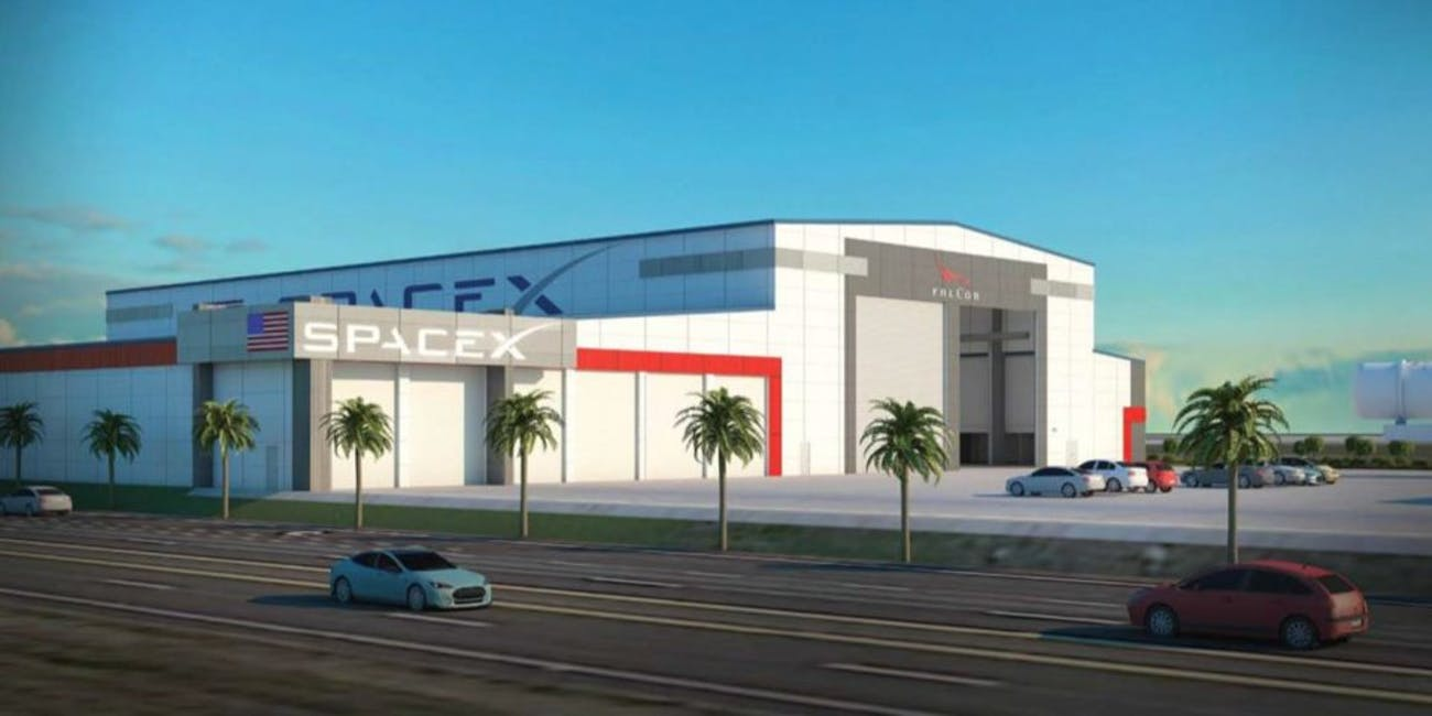 Rendering of SpaceX's proposed 133,000-square-foot Falcon hangar
