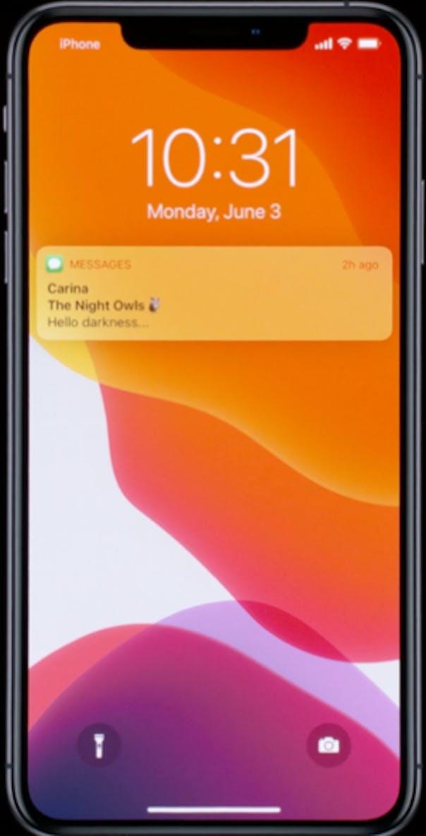 iPhone lock screen dark mode