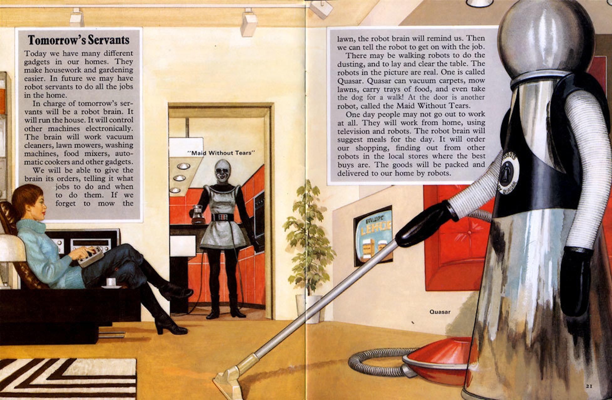 From Paleofuture (Matt Chapman from 'Exploring the World of Robots' by Jonathan Rutland)