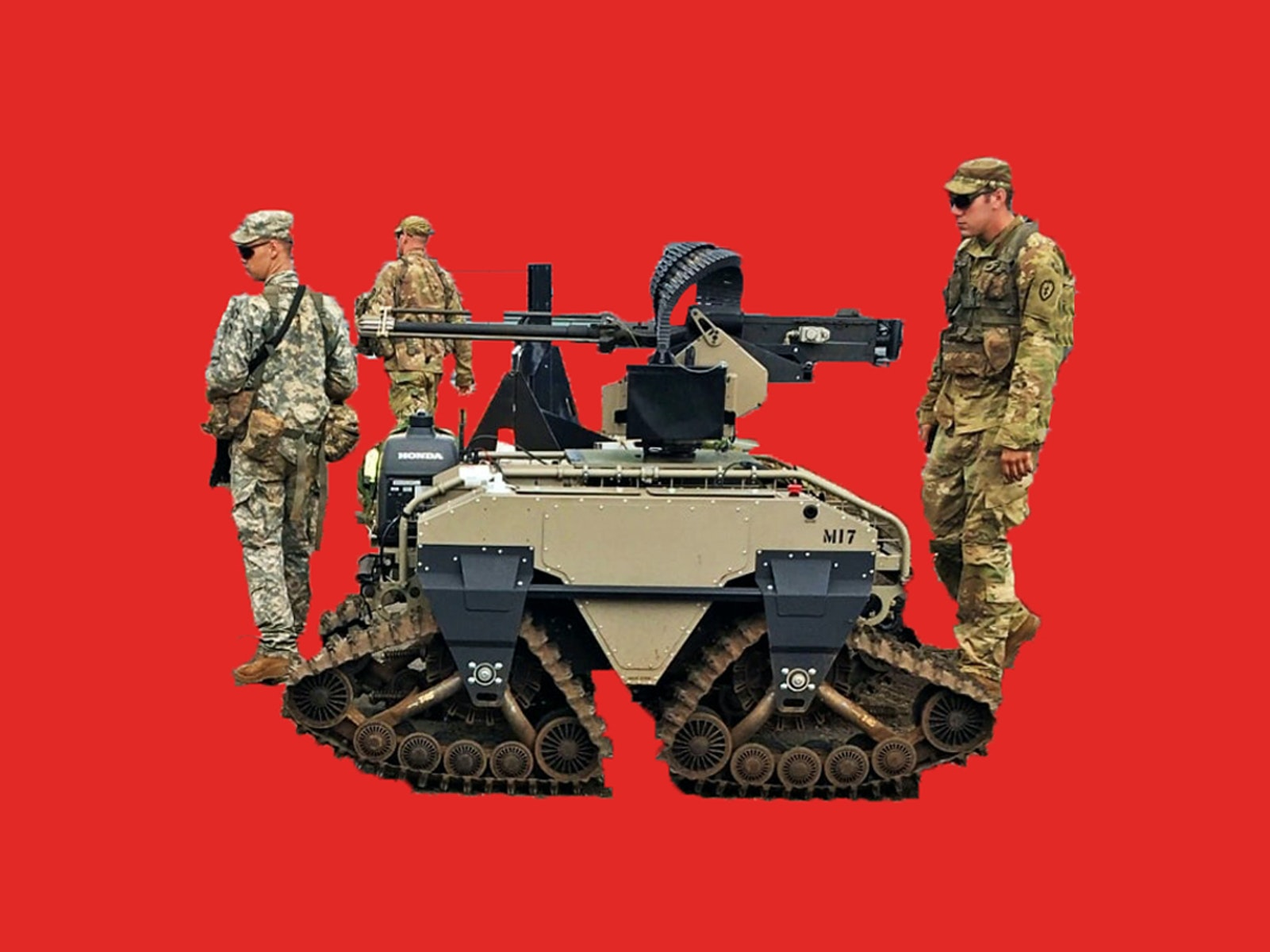 Soldiers of the 25th Infantry Division stand near a multipurpose  unmanned tactical transport (MUTT) armed with an M2 .50 caliber machine  gun during the Pacific Manned Unmanned - Initiative (PACMAN-I) at Marine  Corps Training Area - Bellows, July 22, 2016. Manned-Unmanned Teaming  is one of many new concepts that has been identified as part of the Army  Warfighter Assessment 2017 (AWA 17). AWA is the U.S. Army Training and  Doctrine Command's (TRADOC's) premier event to evaluate concepts and  capabilities that address the Army's warfighting challenges and shape  the future Army's force. The U.S. Army Tank Automotive Research,  Development and Engineering Center (TARDEC) is the Army's front line in  bringing capabilities in the form of MUM-T to that force. (Photo by  Kimberly Bratic, TARDEC Public Affairs) Photo illustration by Inverse