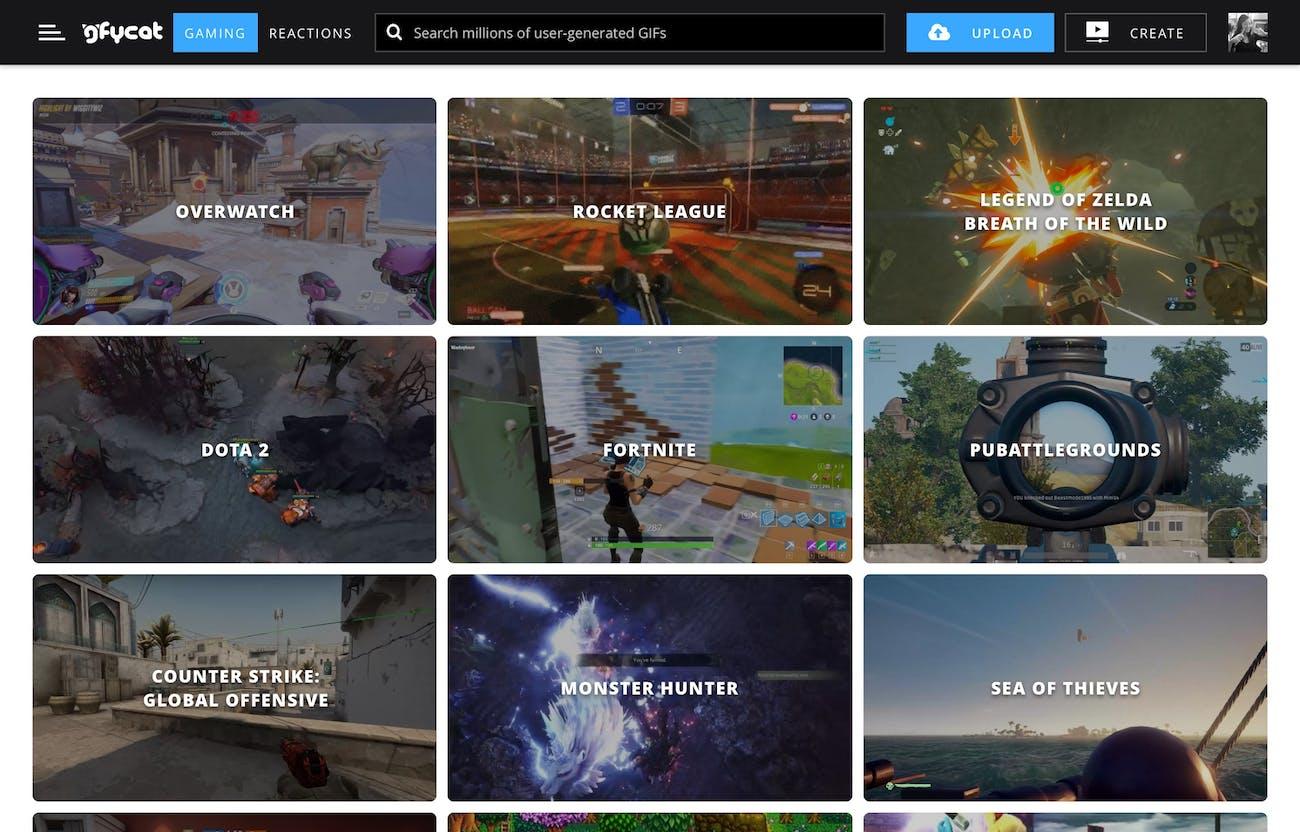 gfycat for gaming website