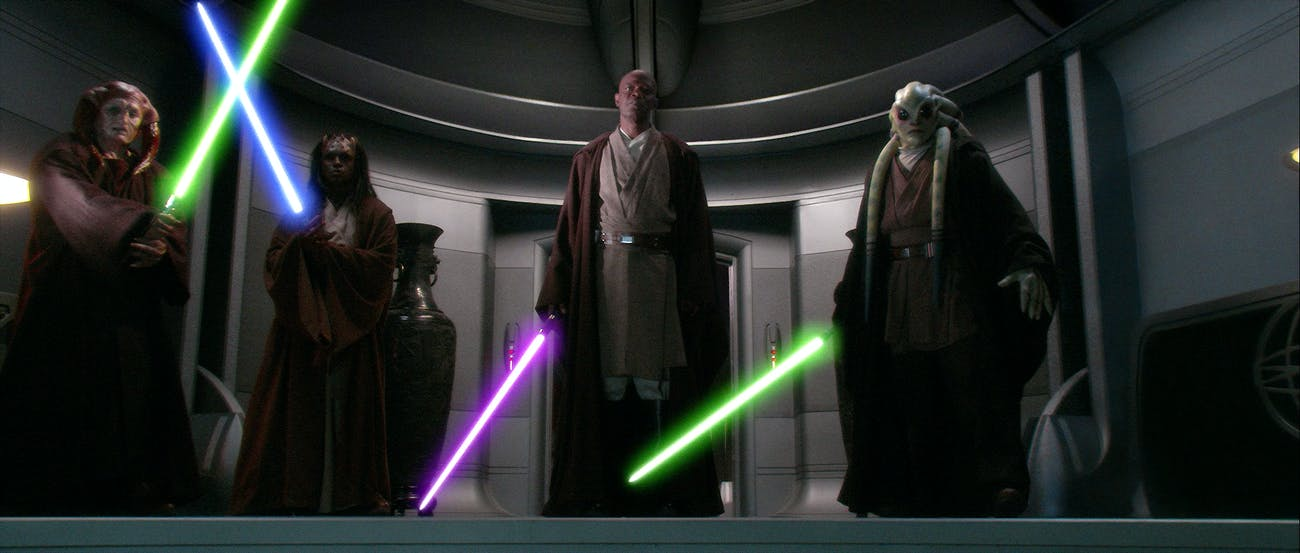 Mace and his squad try to arrest Palpatine in 'Revenge of the Sith'