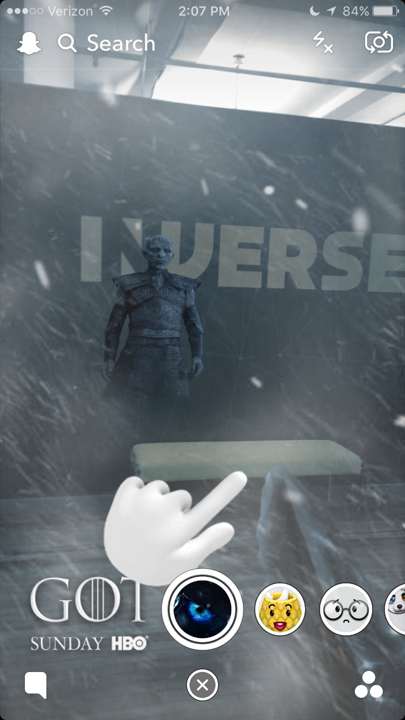 White Walkers invade Inverse with the new 'Game of Thrones' Snapchat filter