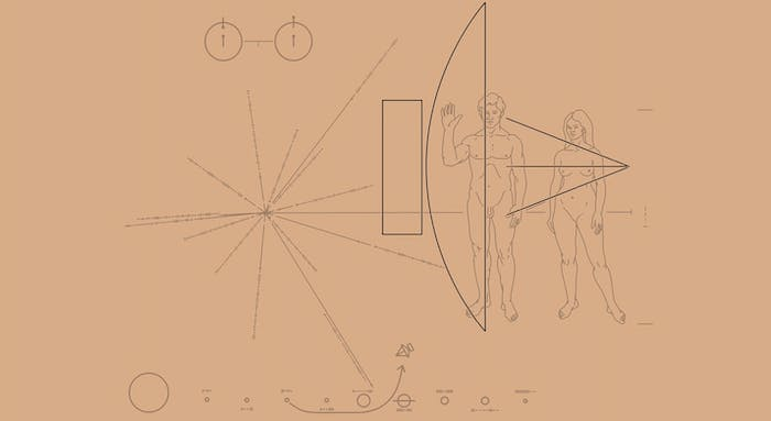 Two Pioneer spacecrafts carry these Pioneer plaques, which are supposed to explain humans and our solar system in case it encounters extraterrestrial life.
