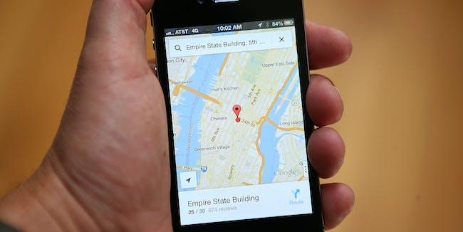 Google Maps app Manhattan iPhone