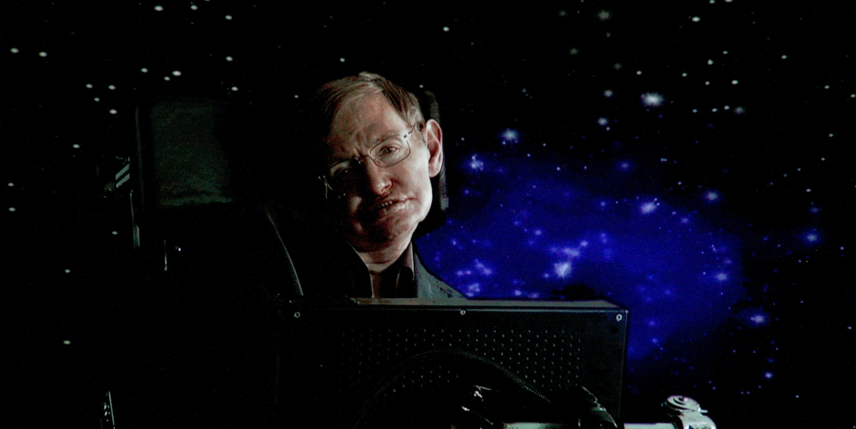 PASADENA, CA - JANUARY 14:  Scientist Stephen Hawking of 'Into The Universe With Stephen Hawking' speaks via satellite during the Science Channel portion of the 2010 Television Critics Association Press Tour at the Langham Hotel on January 14, 2010 in Pasadena, California.  (Photo by Frederick M. Brown/Getty Images)
