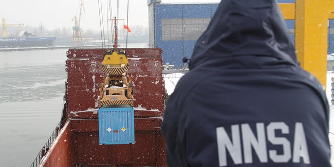 The Department of Energy's National Nuclear Security Administration supervises the removal of 68 kilograms of highly enriched uranium (enough for two nuclear weapons) from the Czech Republic in 2013.