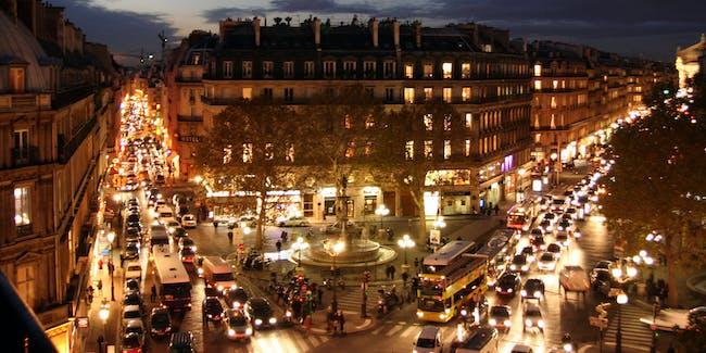 Nighttime Paris traffic