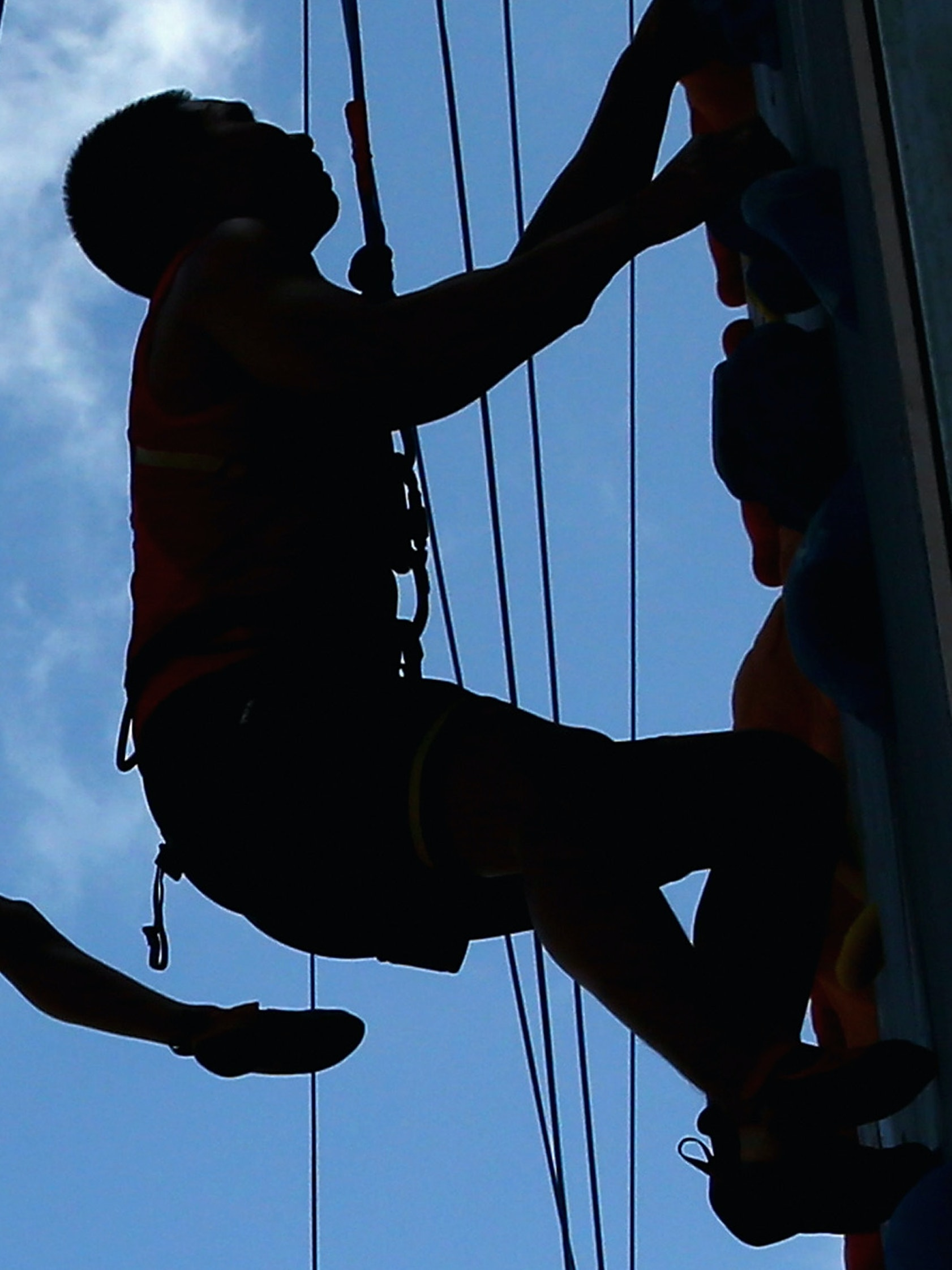 Competitors  train during a Sport Climbing practice session during the 2014 Asian Beach Games at Saphan Hin on November 14, 2014 in Phuket, Thailand.  (Photo by Quinn Rooney/Getty Images)