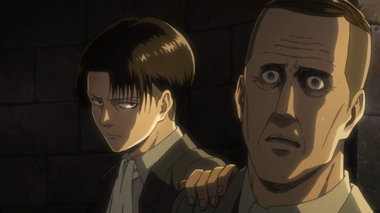 Captain Levi and Pastor Nick in 'Attack on Titan' Season 2.
