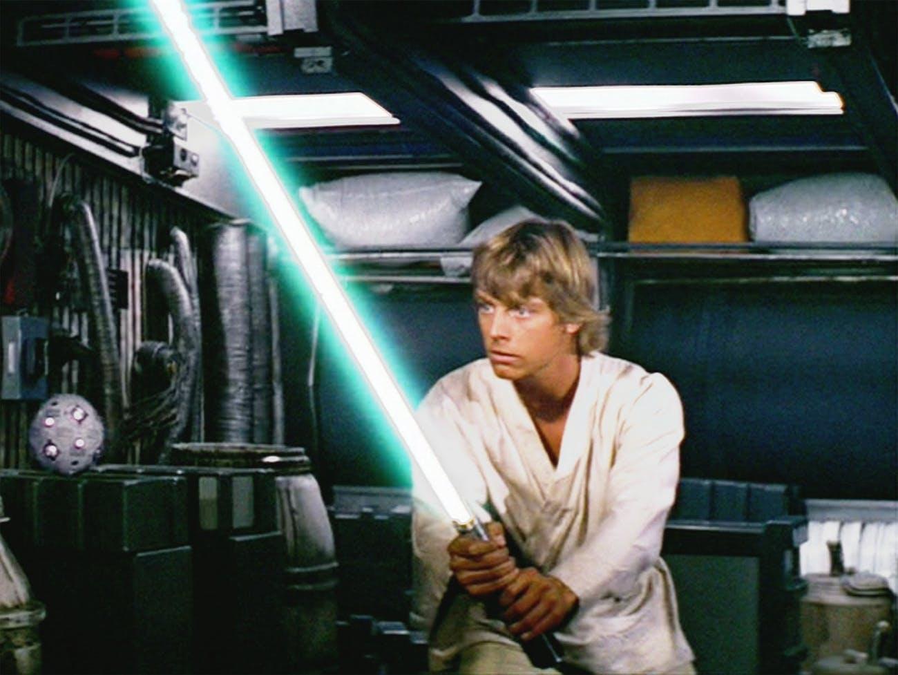 Luke Skywalker and his lightsaber