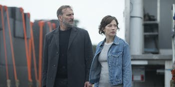 Christopher Eccleston and Carrie Coon in 'The Leftovers'