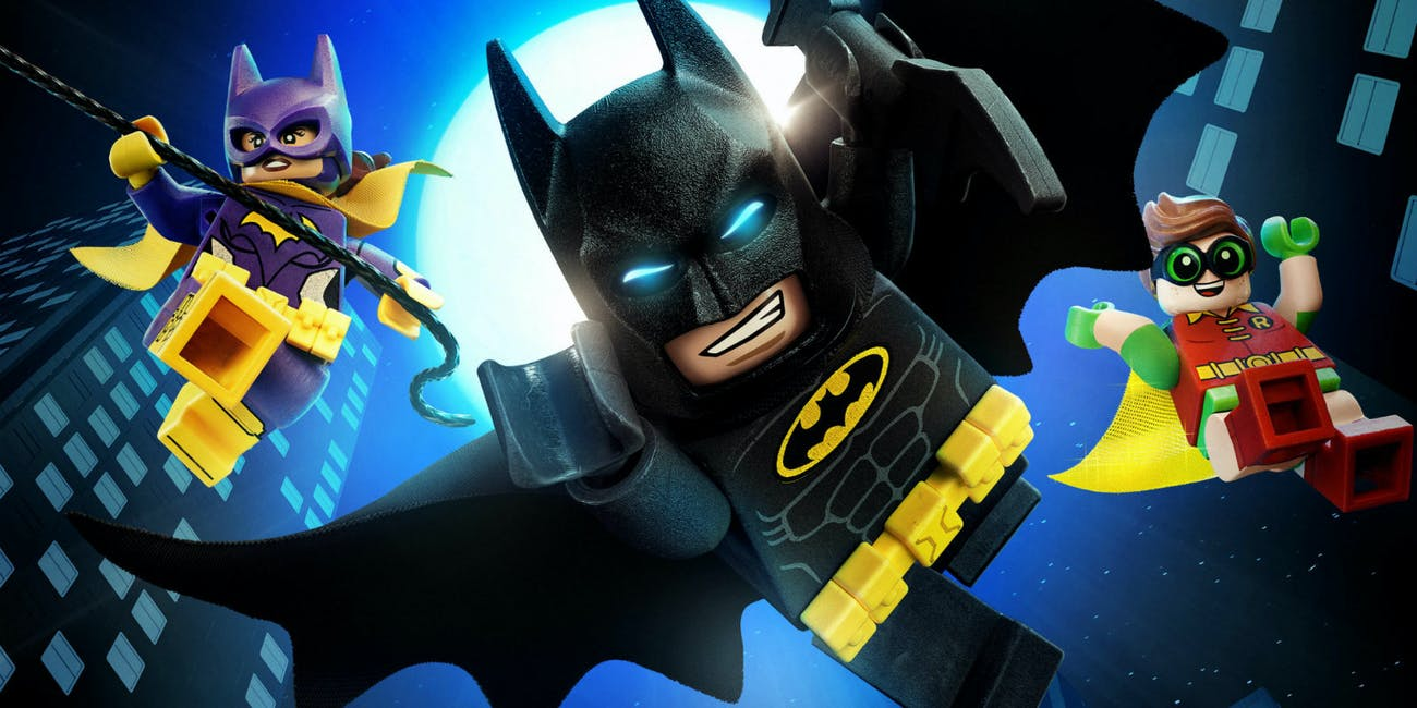 Batgirl (Rosario Dawson), Batman (Will Arnett) and Robin (Michael Cera) in 'The Lego Batman Movie'