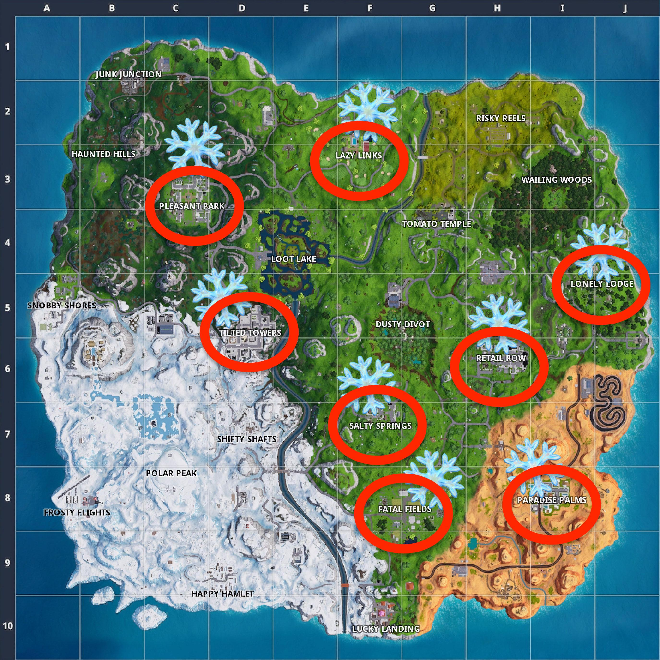 Fortnite Snowflake Locations Map Where To Destroy 12 Of Them Inverse
