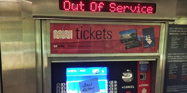 SF's Muni transit system was hacked resulting in free rides for all passengers.