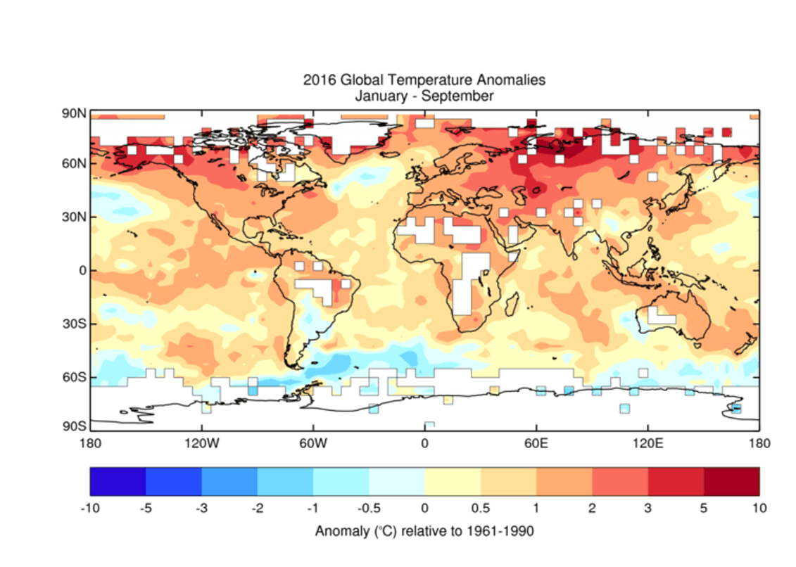 Global temperatures for January to September 2016.