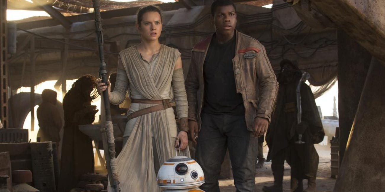 Daisy Ridley and John Boyega in 'Star Wars: Episode VII - The Force Awakens'