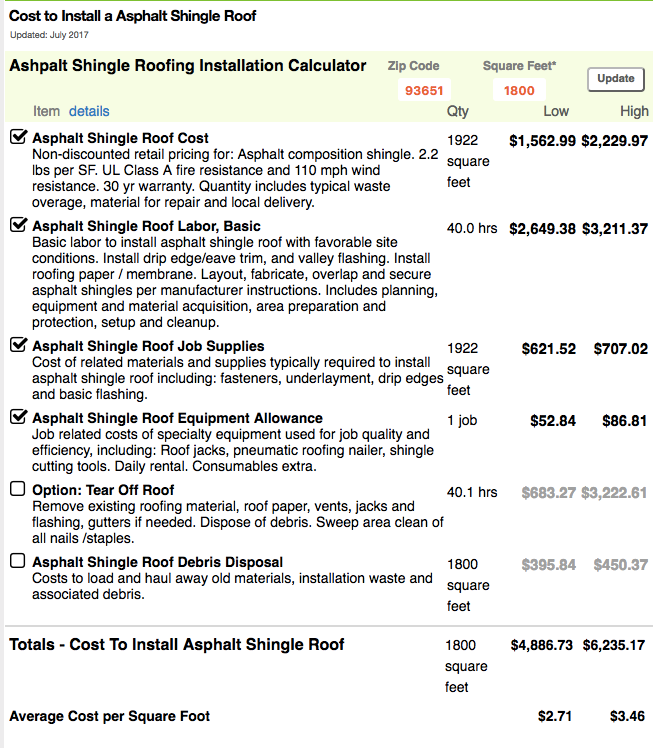 Cost for asphalt shingle roof.