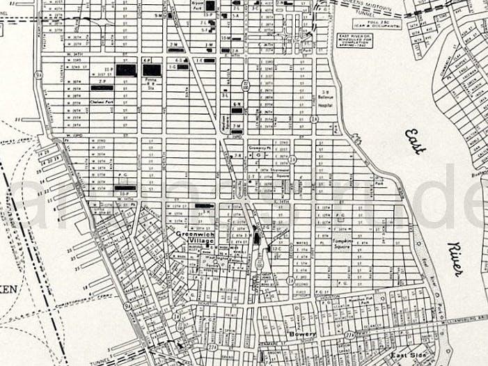 Old Manhattan street map