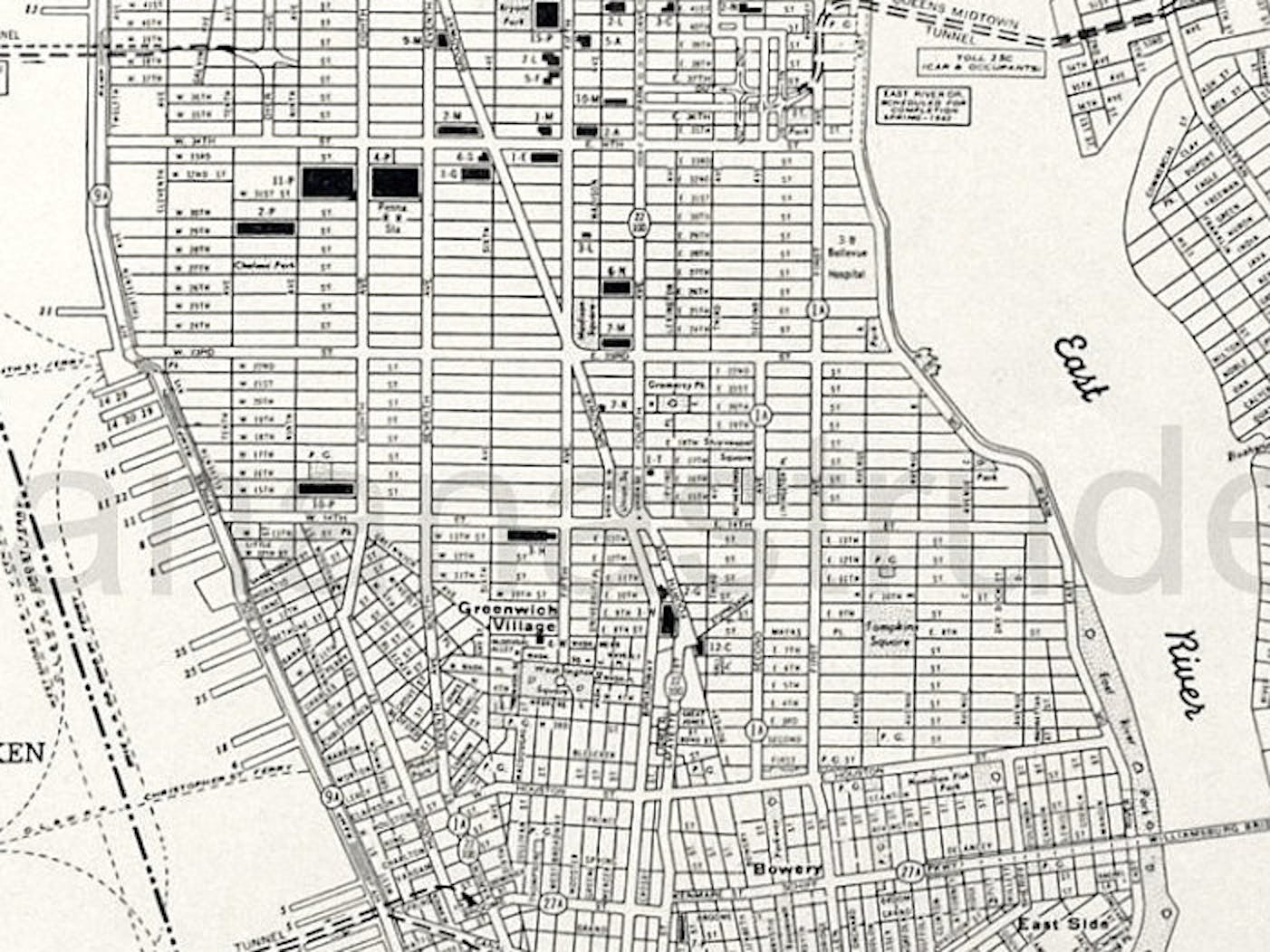 Old Manhattan street map