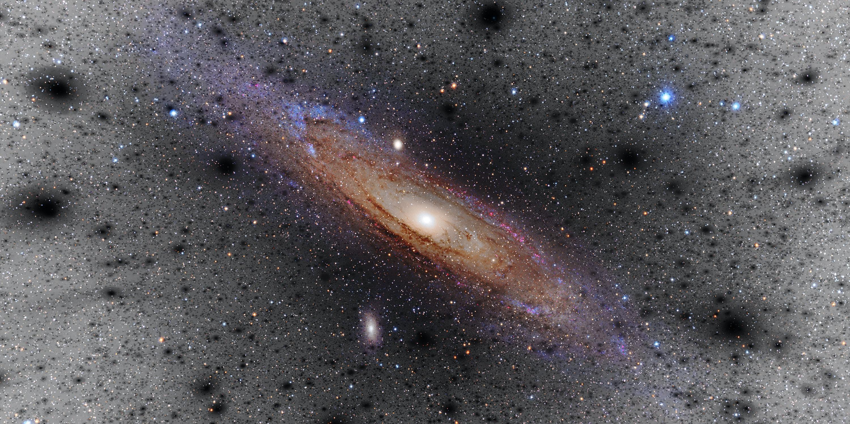 Artist's impression of dark matter clumps around a Milky Way-like galaxy.