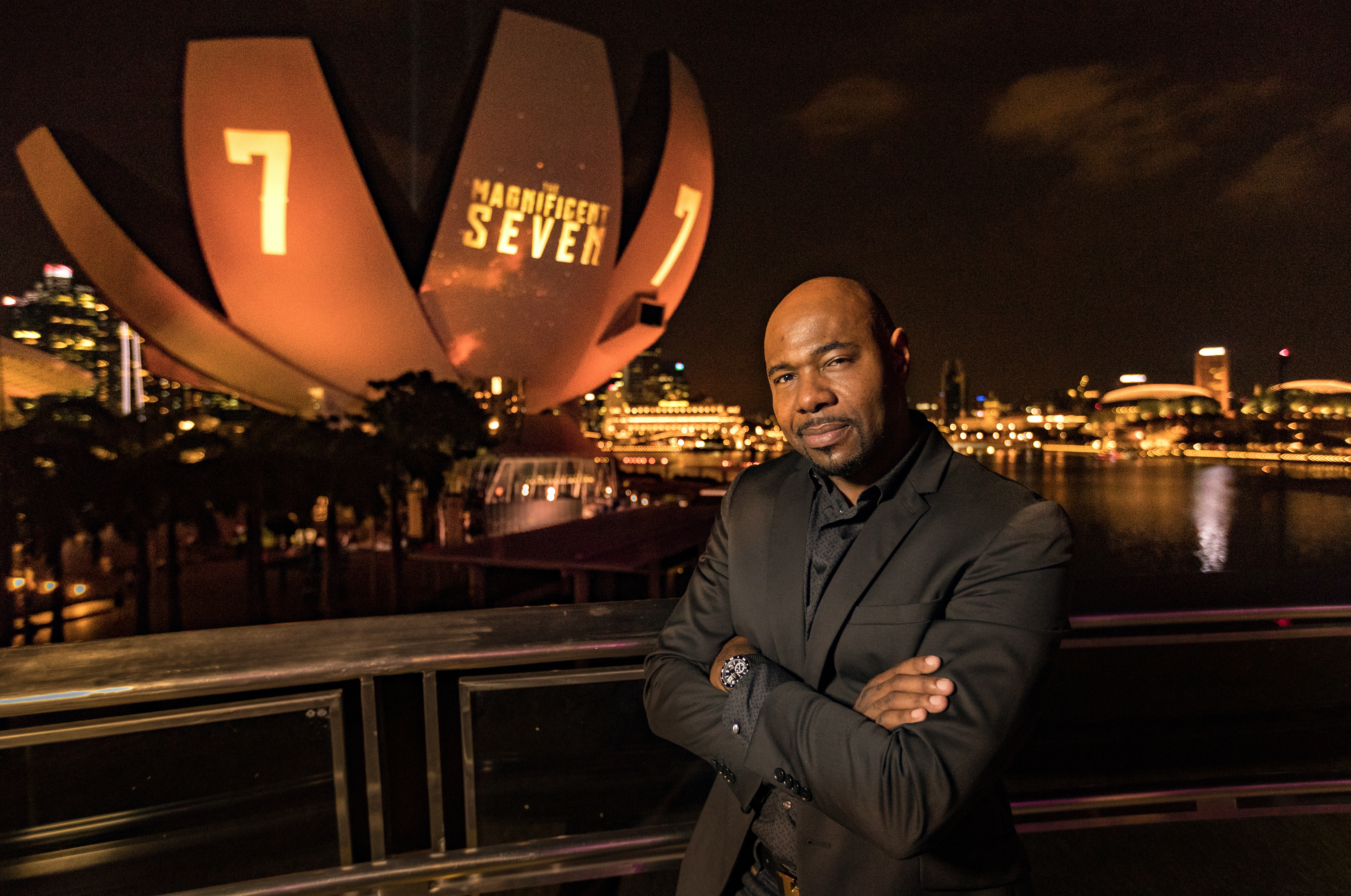 SINGAPORE - JUNE 15:  Director Antoine Fuqua poses for a portrait during 'The Magnificent Seven' red carpet and photo call at the ArtScience Museum at Marina Bay Sands on June 15, 2016 in Singapore.  (Photo by Christopher Polk/Getty Images for Sony)