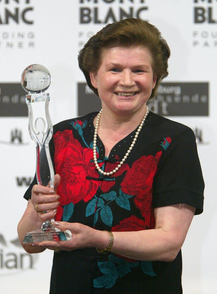 Former Russian astronaut Valentina Tereshkova received a World Connection Award at the Women's World Award at Congress Center June 9, 2004 in Hamburg, Germany.