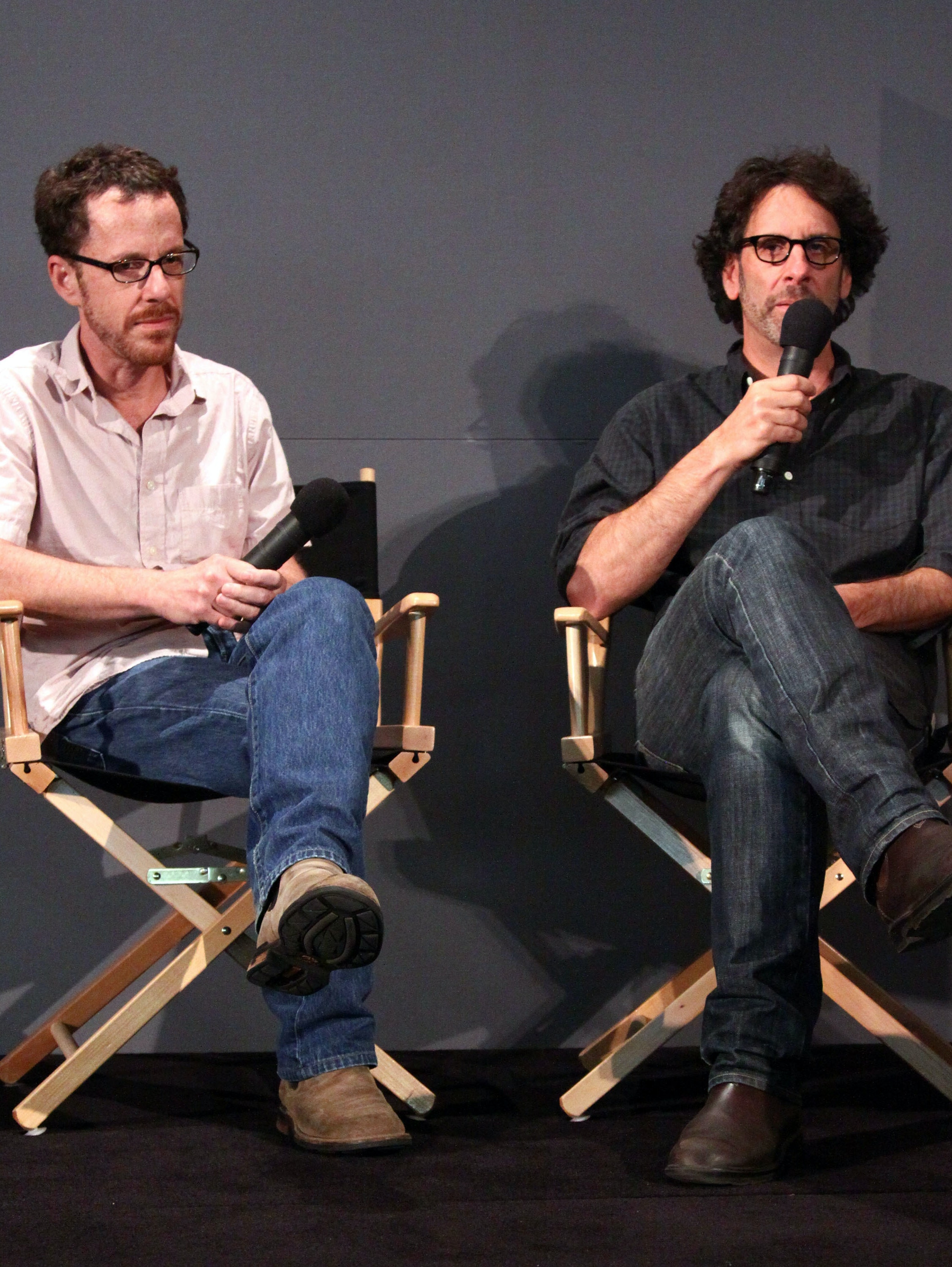 NEW YORK - SEPTEMBER 22:  (L-R) Filmmakers Ethan Coen and Joel Coen visit the Apple Store Soho on September 22, 2009 in New York City.  (Photo by Astrid Stawiarz/Getty Images)