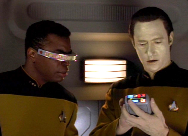 Geordi and Data doing fake science on 'Star Trek: The Next Generation.'