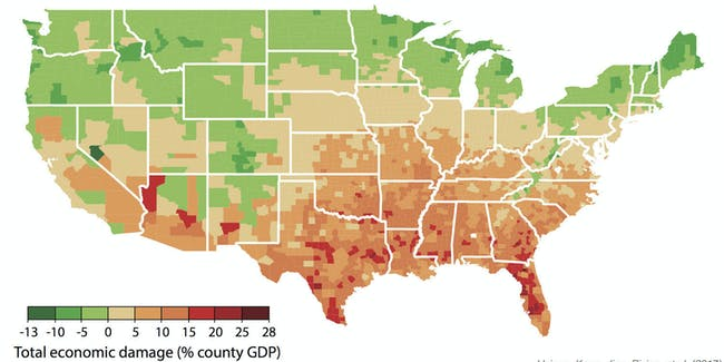 County-level annual damages in median scenario for climate during 2080-2099 under business-as-usual emissions trajectory (RCP8.5). Negative damages indicate economic benefits. Map corresponds with Figure 2I in main article.