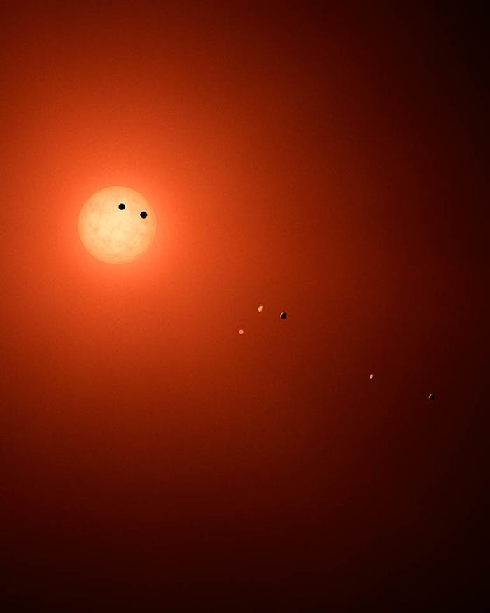 This illustration shows what the TRAPPIST-1 system might look like if we could view it with a powerful telescope,