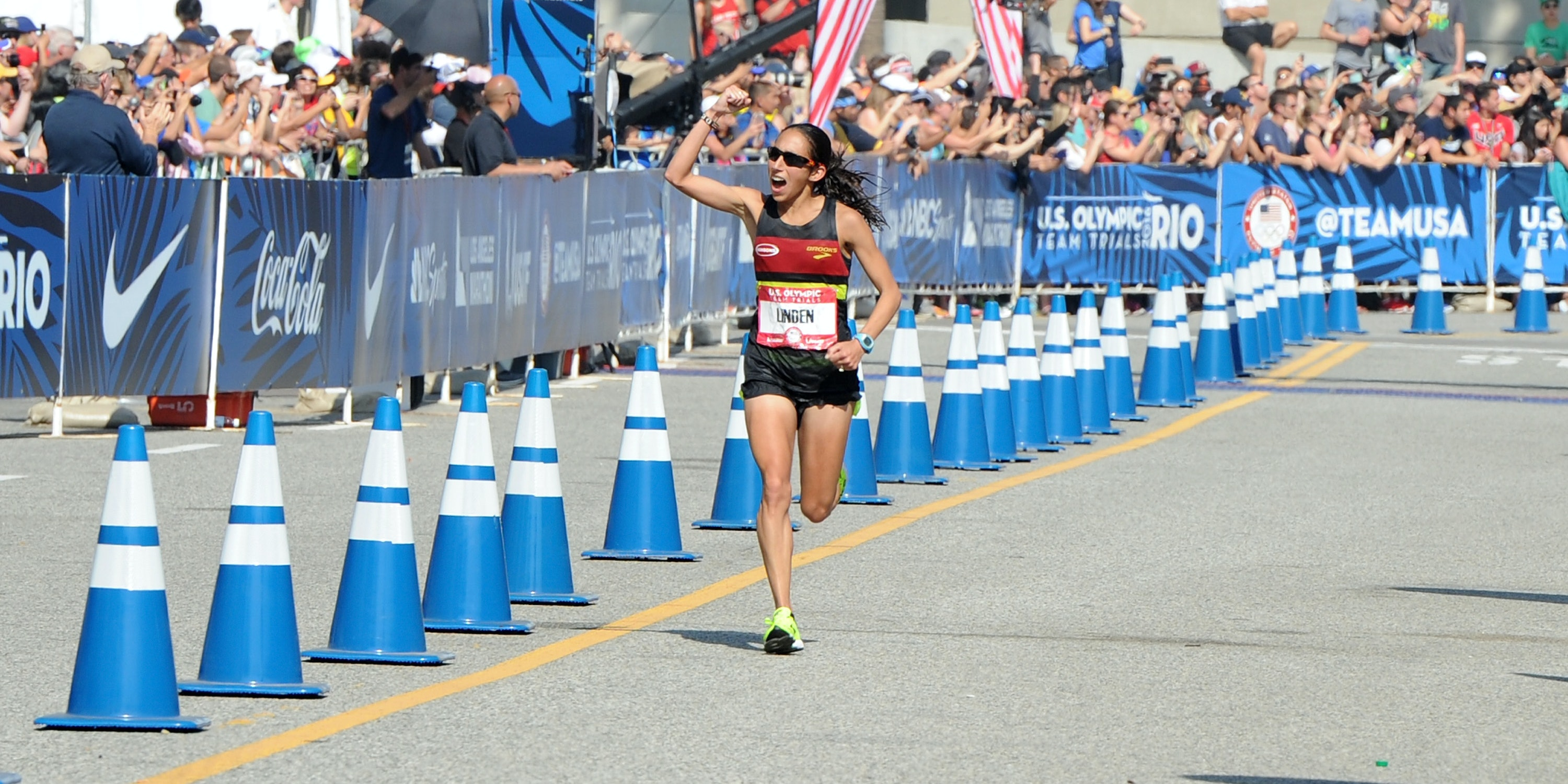 Desiree Linden finishes second in the U.S. Olympic Team Trials Women's Marathon on February 13, 2016 in Los Angeles, California.