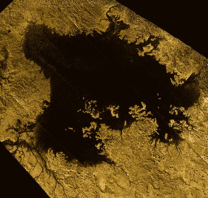 False-color image of Ligeia Mare, the second  largest known body of liquid on Saturn's moon Titan. It's filled with  liquid hydrocarbons.
