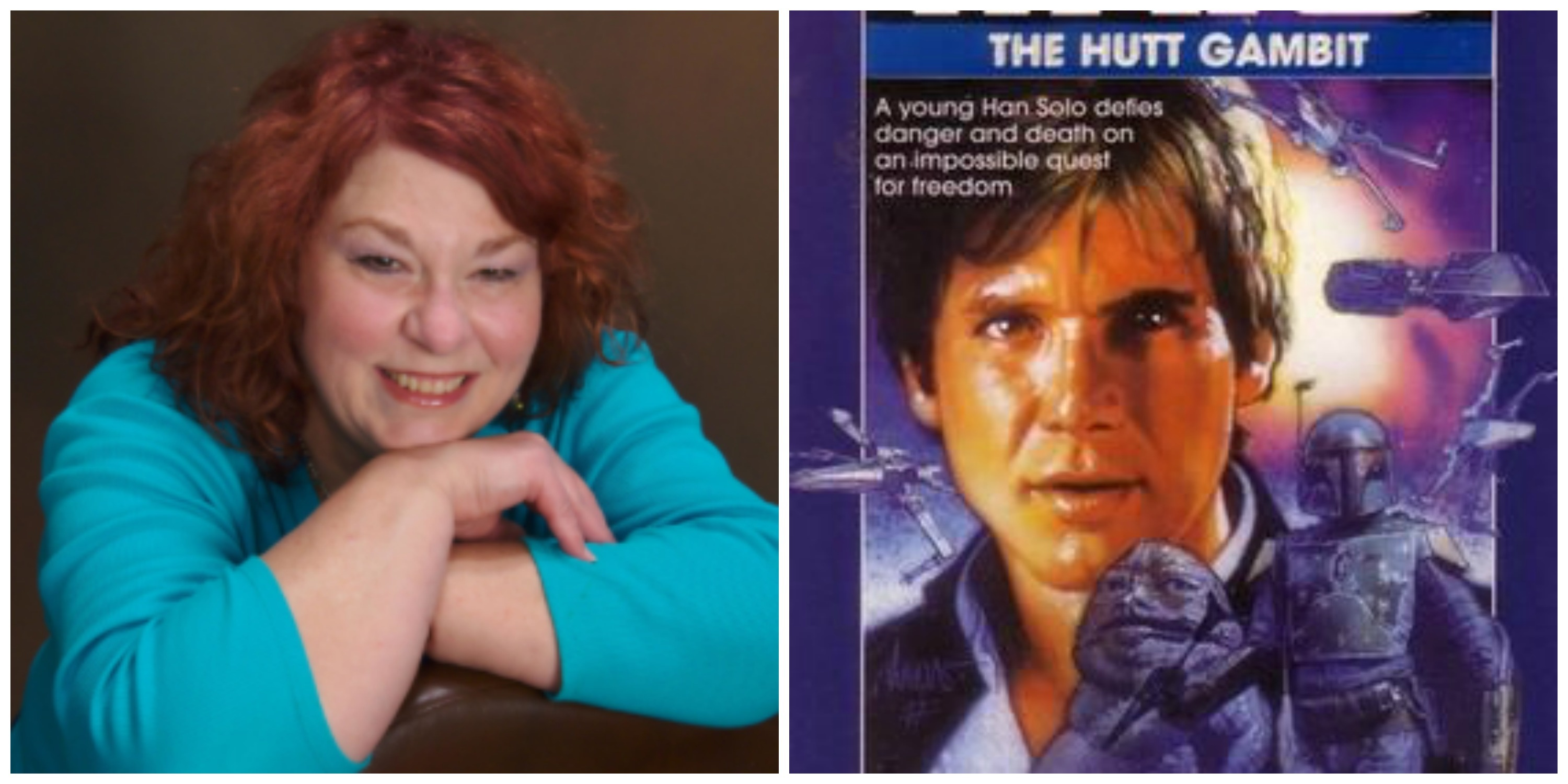 LEFT: the late A.C. Crispin. RIGHT: Cover from her second Han Solo novel, 'The Hutt Gambit.'