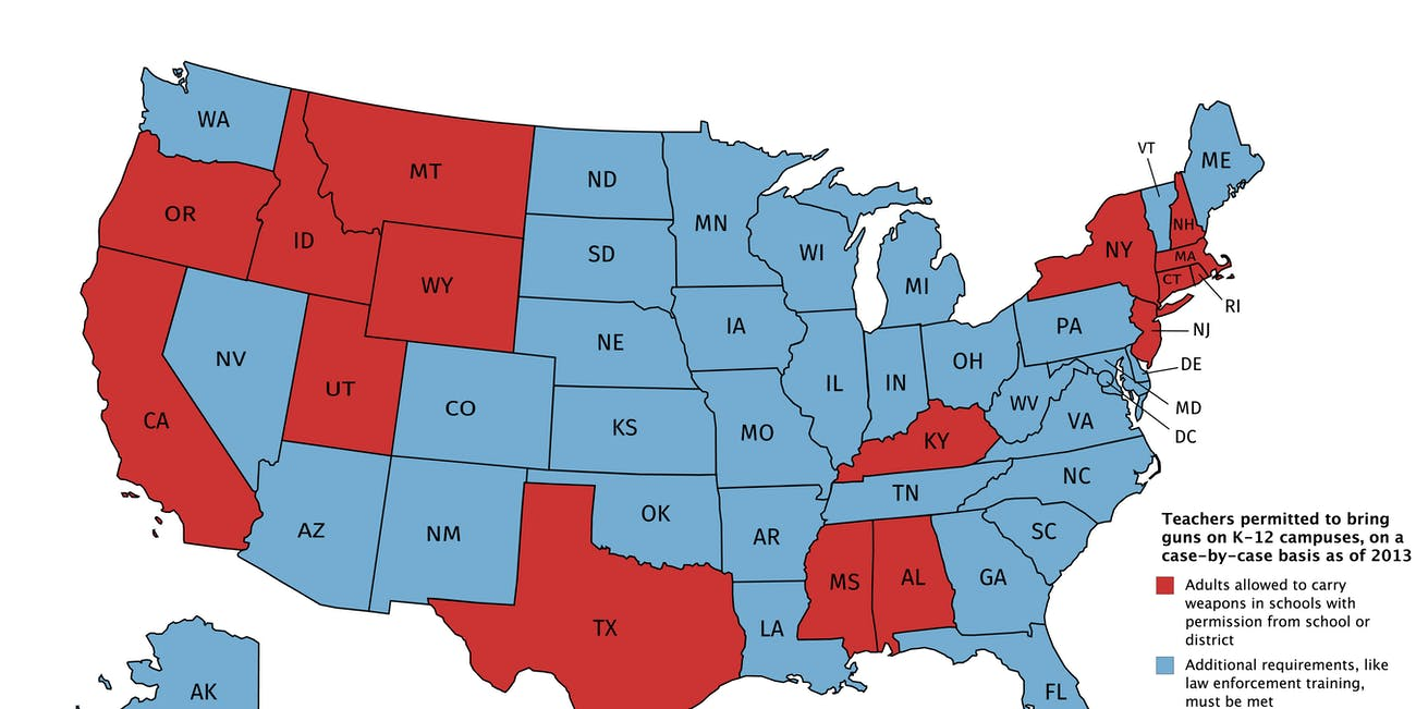 Which States Allow Teachers to Carry Guns? These Maps Explain | Inverse