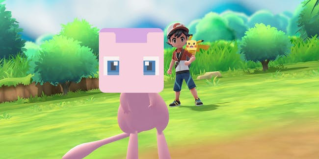 Mew as he appears in 'Pokémon: Let's Go! Pikachu' but if it had the face of a Mew from 'Pokémon Quest'.