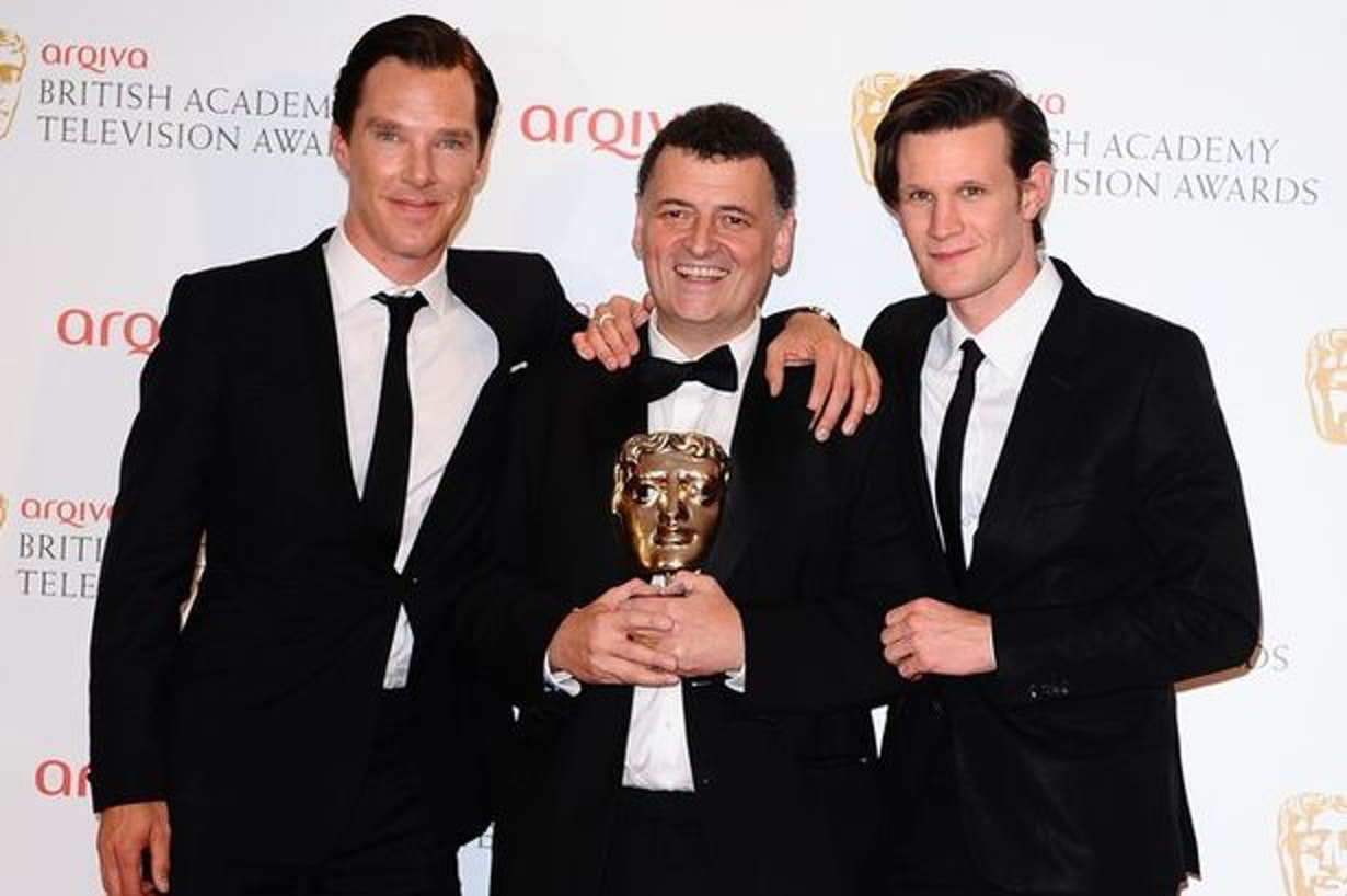 Steven Moffat with Benedict Cumberbatch and Matt Smith