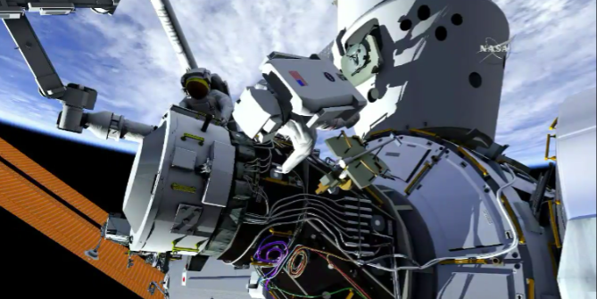 An approximation of the ISS spacewalk that will take place August 19.