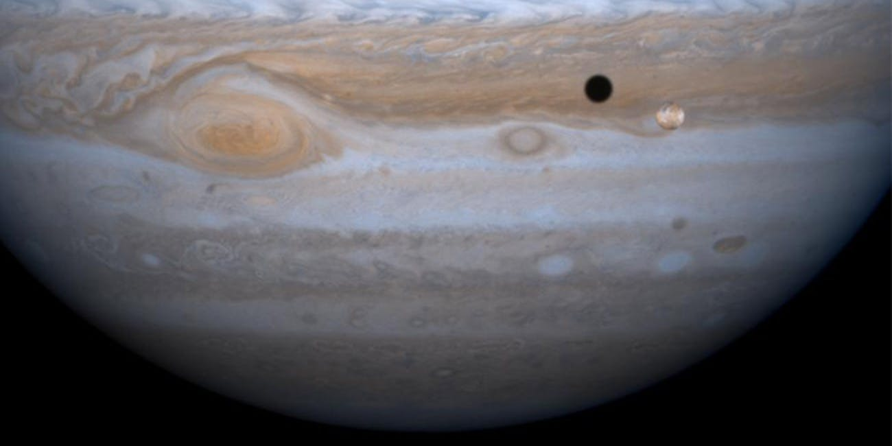 Jupiter is the fifth planet from the Sun and the largest in the Solar System –  it's over 1,300 times the size of Earth.