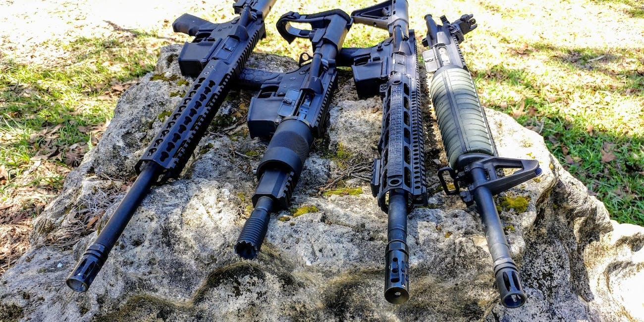 Modern AR-15 Rifles on a Rock