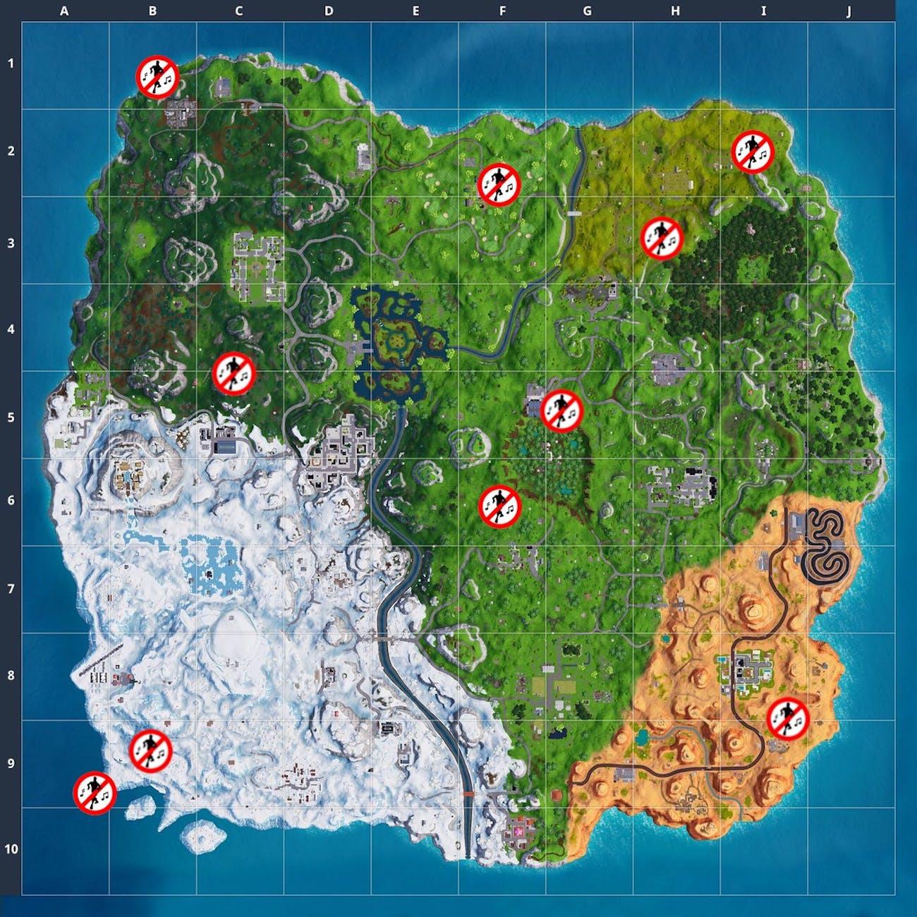 'Fortnite' Forbidden Dance Locations