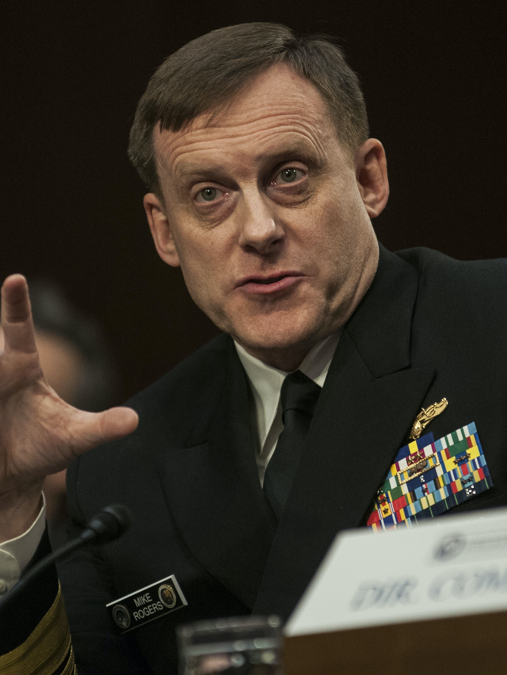 WASHINGTON, DC - FEBRUARY 9:     National Security Agency Director Adm. Michael Rogers testifies before the Senate (Select) Intelligence Committee at the Hart Senate Building on February 9, 2016 in Washington, D.C.  The committee met to hear testimony about worldwide threats to America and its allies.  (Photo by Gabriella Demczuk/Getty Images)