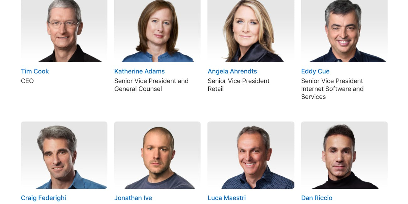 The highest ranking employees at Apple.