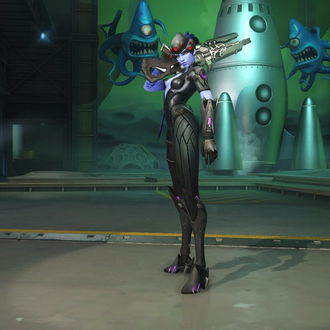 An in-game skin for Widowmaker was used as the source inspiration for her live-action counterpart.