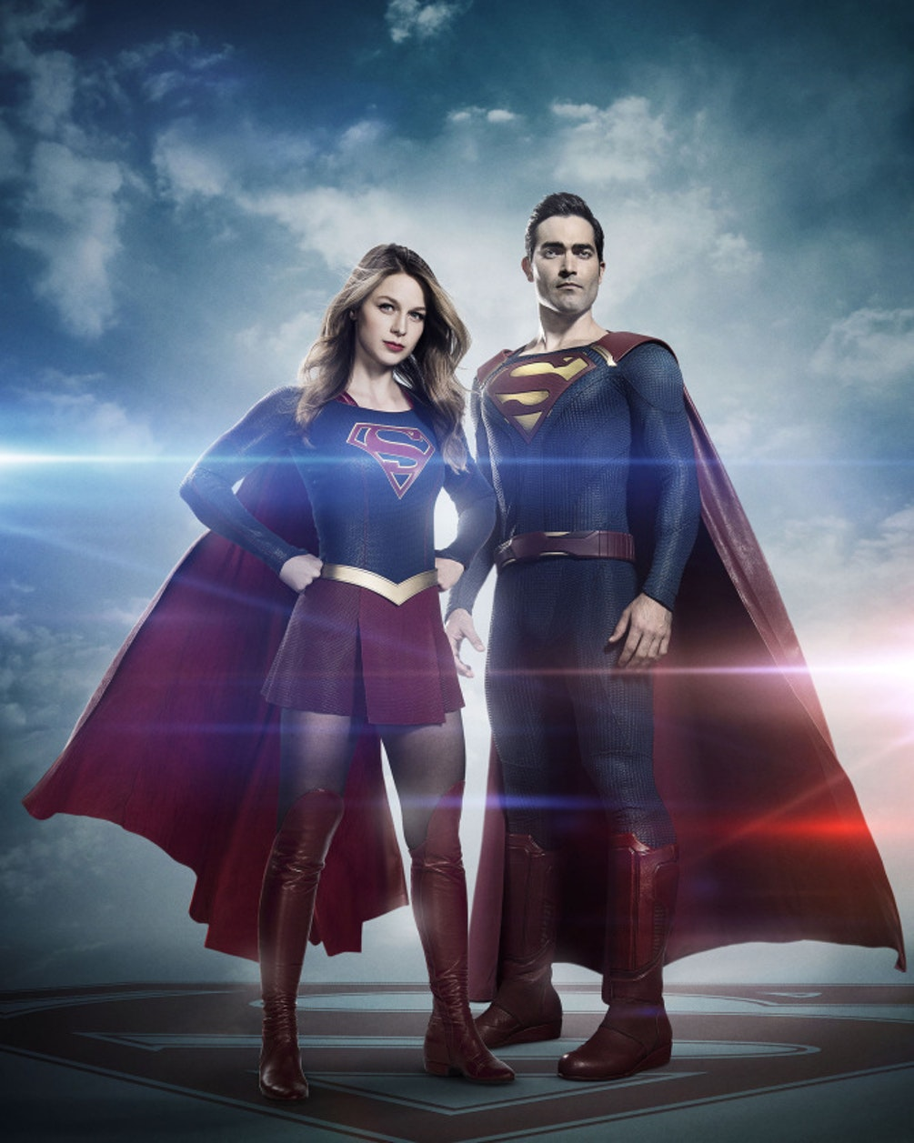Melissa Benoist as Supergirl and Tyler Hoechlin as Superman in 'Supergirl' Season 2.