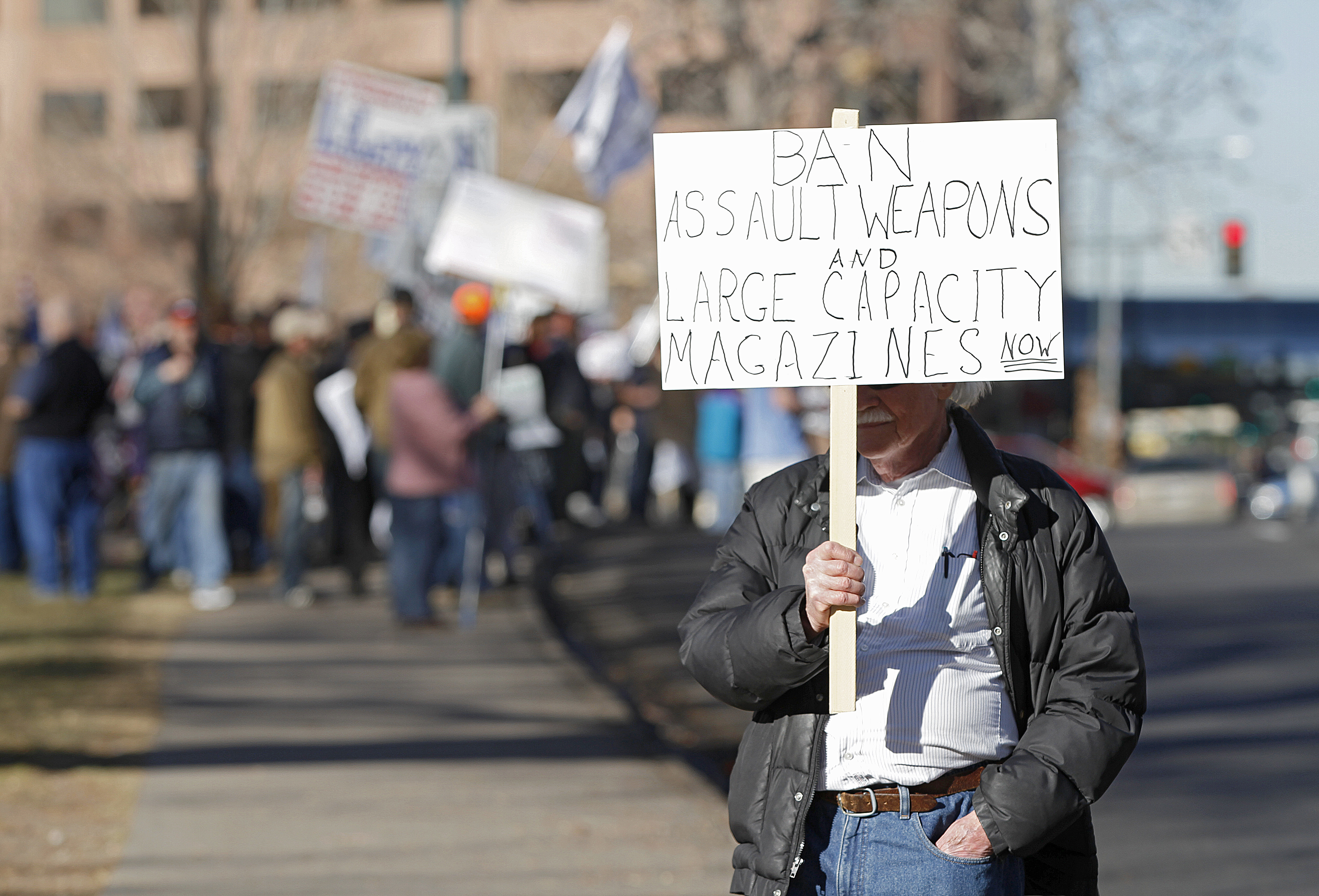 An gun regulation activist in Colorado in 2013.