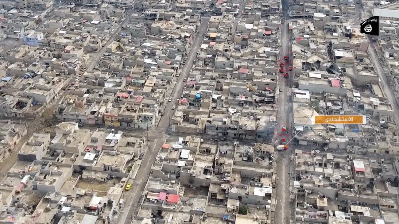Screenshot of drone footage showing a VBIED attack on an Iraqi security forces convoy.