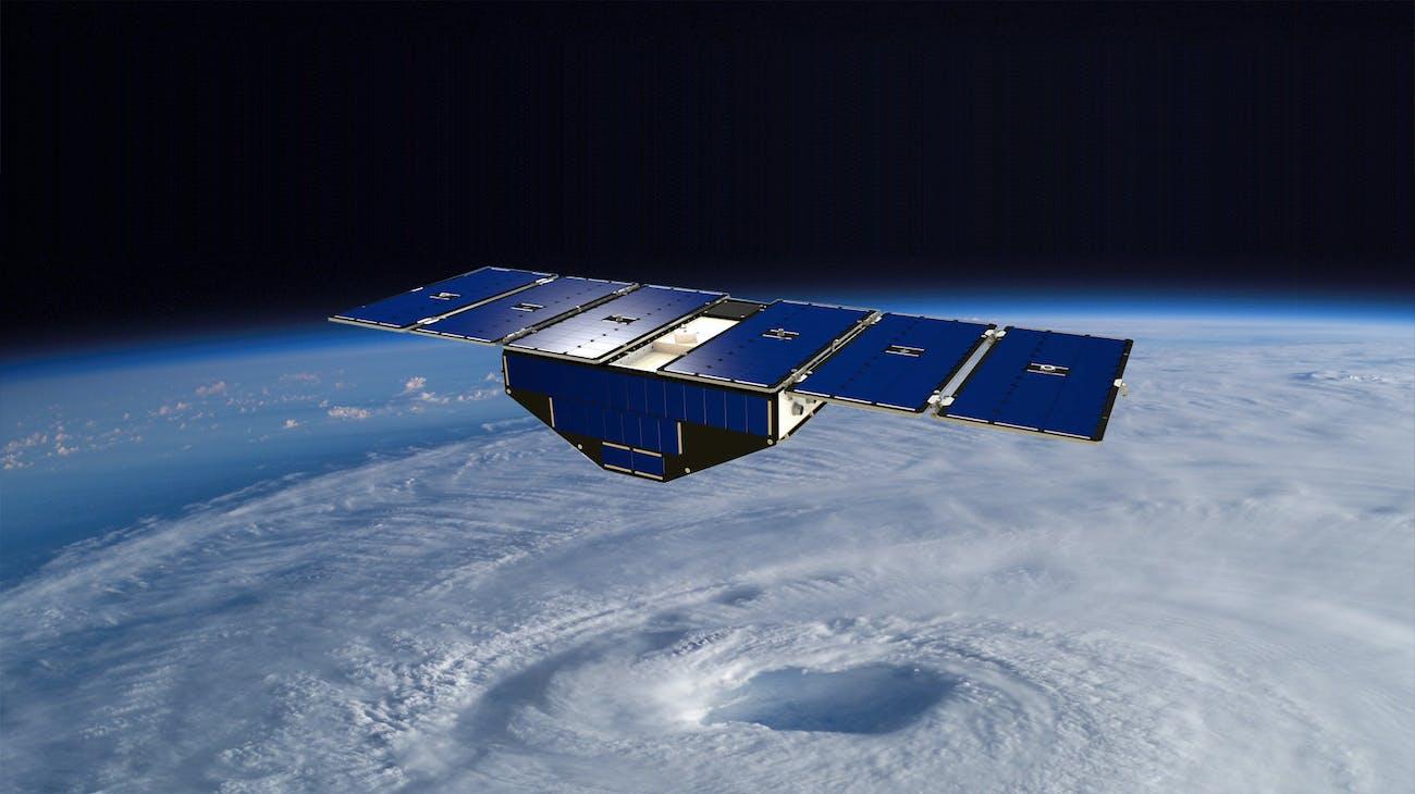 CYGNSS spacecraft in a standard orbital position.